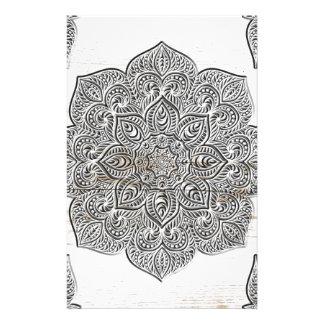 Mandala on white wood stationery