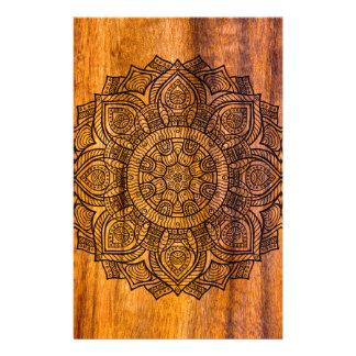 Mandala on wood stationery