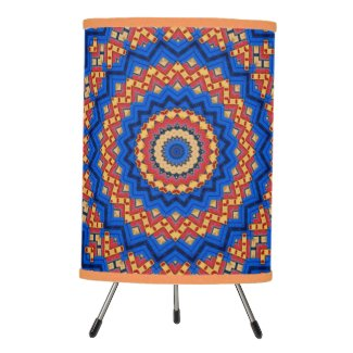 Mandala orange blue tripod lamp