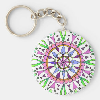 Mandala Original Drawing with Digital Coloring Basic Round Button Keychain