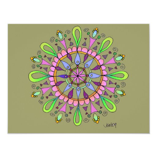 Mandala Original Drawing with Digital Coloring 4.25x5.5 Paper Invitation Card
