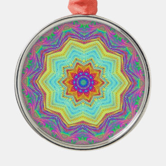 Mandala Round Metal Christmas Ornament