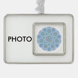 Mandala ornament silver plated framed ornament