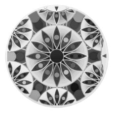 Mandala pattern , black, white and gray / grey ceramic knob