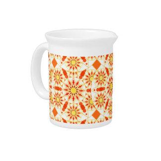 Mandala pattern, brick red, rust, gold pitchers