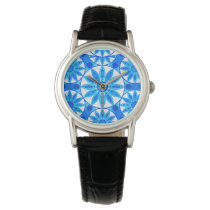 Mandala pattern, cobalt blue, turquoise and white wrist watch