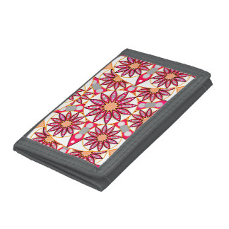 Mandala pattern, coral, peach, white and grey trifold wallets