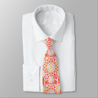Mandala pattern, coral red, pink, gold neck tie