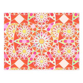 Mandala pattern, coral red, pink, gold postcard