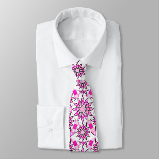 Mandala pattern, hot pink, black and white tie