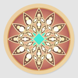 Mandala pattern in caramel and chocolate round sticker