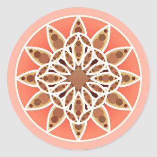 Mandala pattern in chocolate, caramel and coral classic round sticker
