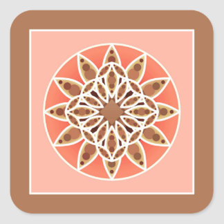 Mandala pattern in chocolate, caramel and coral square sticker