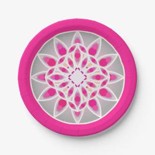 Mandala pattern in fuchsia pink white and grey paper plate  sc 1 st  Zazzle & Grey Mandala Plates | Zazzle