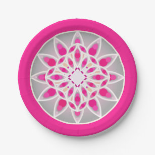 Mandala pattern in fuchsia pink white and grey paper plate  sc 1 st  Zazzle & Grey Mandala Plates | Zazzle