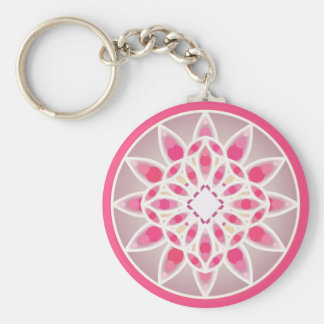 Mandala pattern in hot pink, white and gray keychain