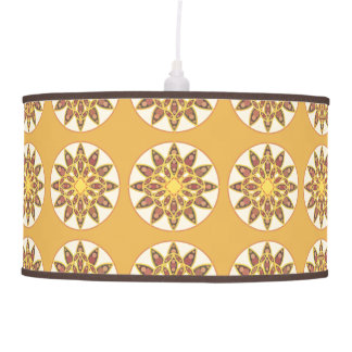 Mandala pattern in shades of chocolate and gold pendant lamp