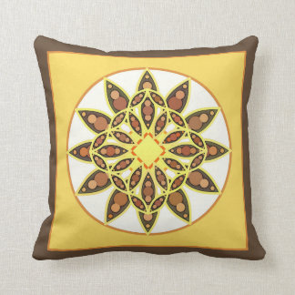 Mandala pattern in shades of chocolate and gold throw pillows