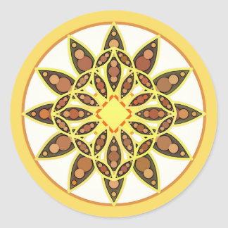 Mandala pattern in shades of chocolate and gold round stickers