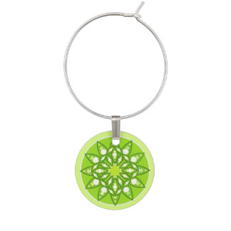 Mandala pattern in shades of lime green, 6 of 12 wine glass charm