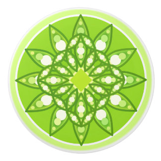 Mandala pattern in shades of lime green ceramic knob