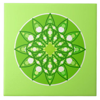 Mandala pattern in shades of lime green ceramic tile