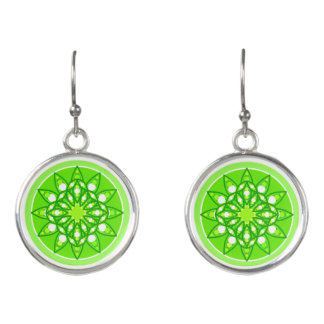 Mandala pattern in shades of lime green earrings