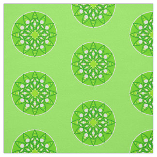 Mandala pattern in shades of lime green fabric