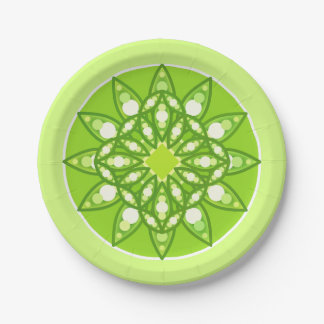 Mandala pattern in shades of lime green paper plate
