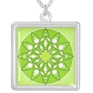 Mandala pattern in shades of lime green silver plated necklace