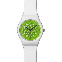 Mandala pattern in shades of lime green watch