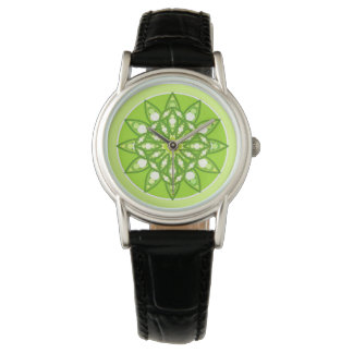 Mandala pattern in shades of lime green watches