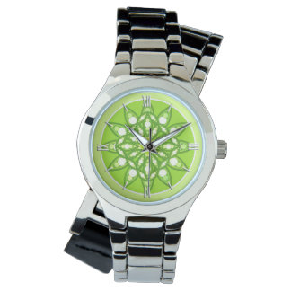 Mandala pattern in shades of lime green wristwatch