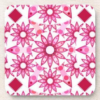 Mandala pattern in shades of pink, maroon coaster