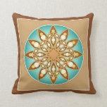 Mandala pattern in tan, cream and turquoise pillow
