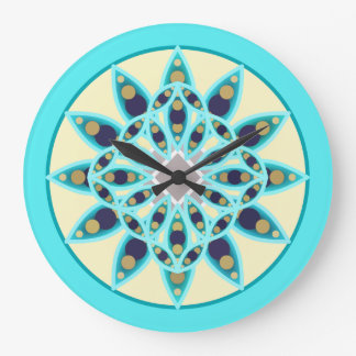 Mandala pattern in turquoise, cream, and navy large clock