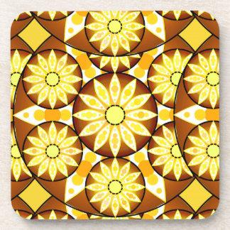 Mandala pattern, shades of brown and gold beverage coaster