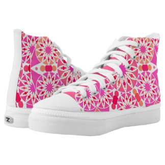 Mandala pattern, shades of pink and coral High-Top sneakers