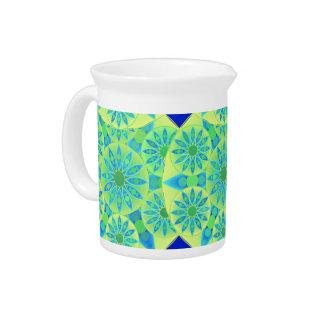 Mandala pattern, turquoise, blue, lime green drink pitcher