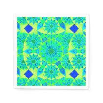 Mandala pattern, turquoise, blue, lime green paper napkin