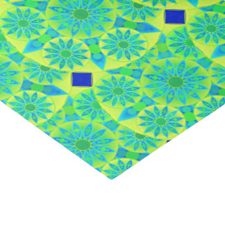 Mandala pattern, turquoise, blue, lime green tissue paper