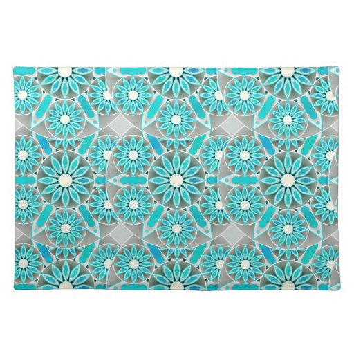 Mandala Pattern Turquoise Silver Grey And White Cloth