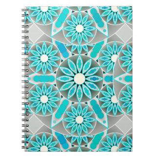 Mandala pattern, turquoise, silver grey and white notebooks