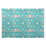 Mandala pattern, turquoise, silver grey and white cloth place mat