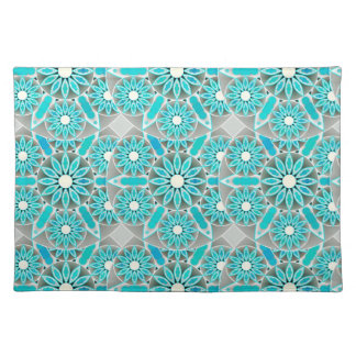 Mandala pattern, turquoise, silver grey and white cloth placemat