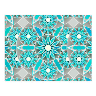 Mandala pattern, turquoise, silver grey and white postcard