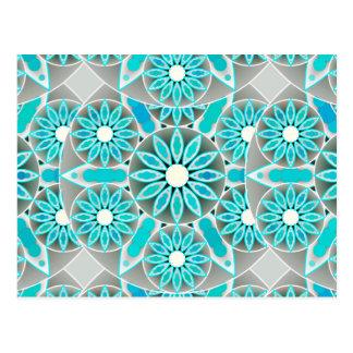 Mandala pattern, turquoise, silver grey and white postcard