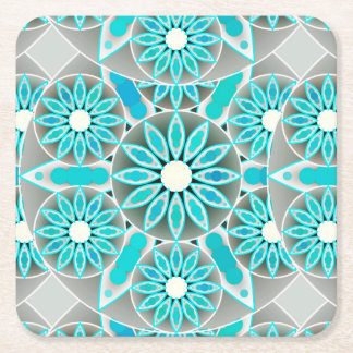 Mandala pattern, turquoise, silver grey and white square paper coaster