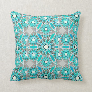 Mandala pattern, turquoise, silver grey and white throw pillow