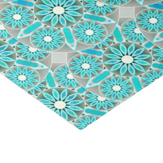 Mandala pattern, turquoise, silver grey and white tissue paper